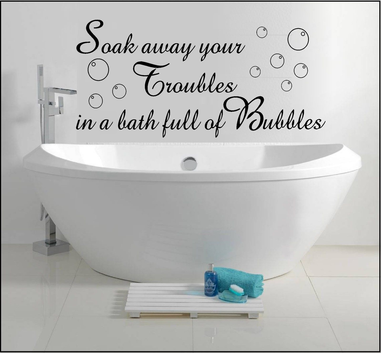 Wall Art Sticker Quote Decal Soak Away Bath Bubbles ...