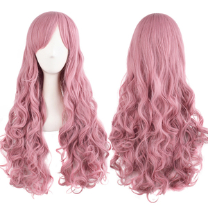Image 2 - MapofBeauty Long Wavy Cosplay Wigs Pink Black Brown Blue White 19 Color 2 Ponytail Shape Claw Heat Resistant Synthetic Hair