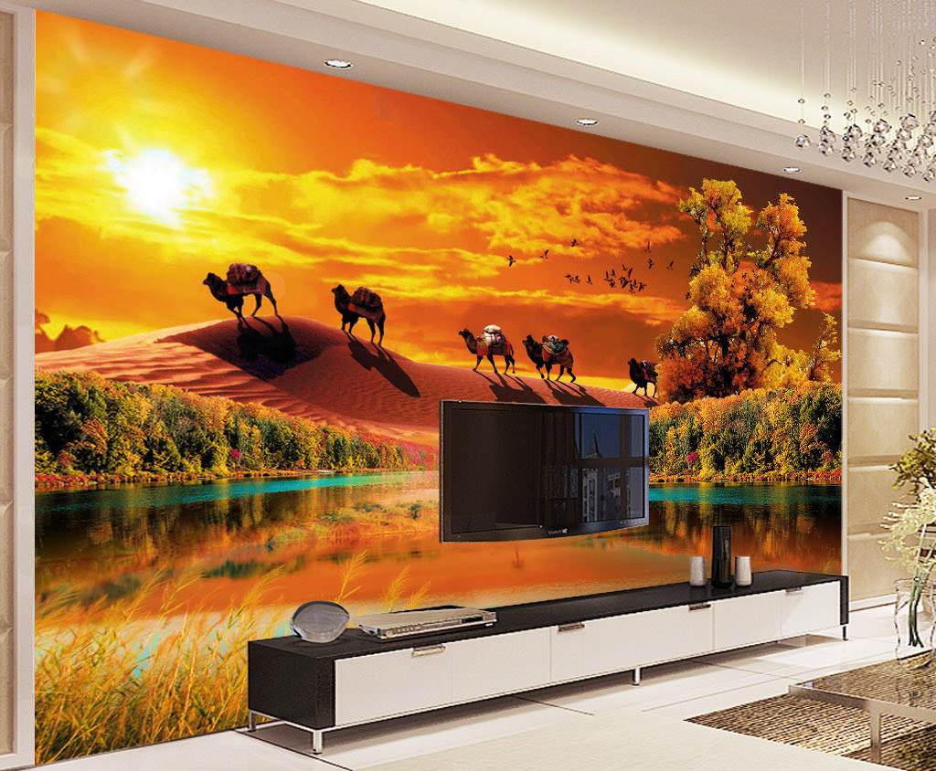Popular themed bedroom buy cheap themed bedroom lots from for Desert mural wallpaper