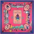 2016 женщин Шарфы Марка Зима Площади Шелковый Шарф Флакон духов Печати Саржевого шелковый Платок Большой Размер Платки для Прогулок De Paris