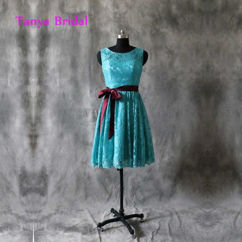 Shipping Custom Dress Line Knee: Scoop Lace Bridesmaid Dress Turquoise With Bow Sash Back