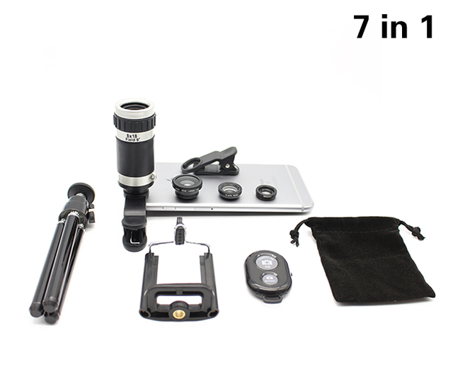 7in1 8x Zoom Telephoto Phone Camera Lens Tripod Mount 3in1 Fisheye Wide Angle Macro Lenses Bluetooth Shutter For xiaomi Samsung