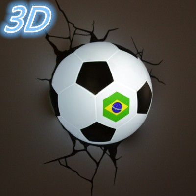 3D bedroom night light Brazilian World Cup football Christmas birthday Dream master children boy toy gift led wall lamp hot sell sports series 2014 brazil world cup football 3d wall lamp amazing room decoration light lampada de parede xmas gift