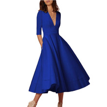 new mama style autumn arrival v-neck sexy slim female dress solid ankle-Length fashion comfortableA-line