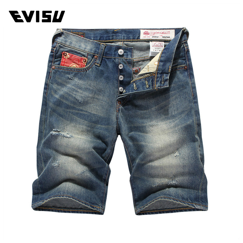 Evisu Men Jeans Male Brand Denim Short Pants Mens Biker Jogger Jeans Casual Pocket Decor ...