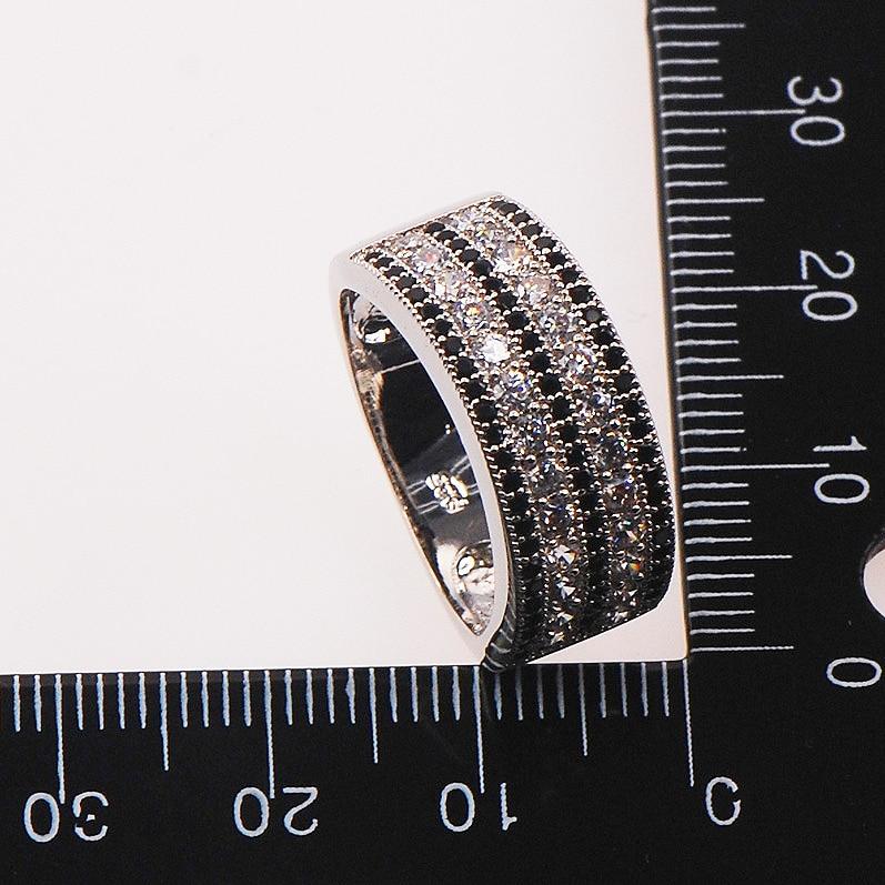 Black White Кристалл Zircon 925 стерлинг Silver Woman - Сәндік зергерлік бұйымдар - фото 3