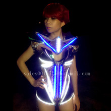 Led Ballroom Singer DJ Performance Costumes Clothes Sexy Lady Party Stage Luminous Evening Dress Led Female Warrior Armor