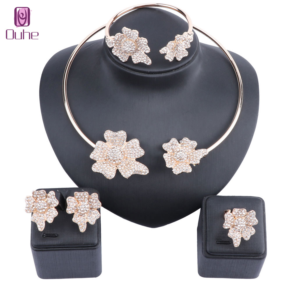 Latest Best Quality Flower Jewelry Dubai Gold Color Jewelry sets African Beads Crystal Necklace Earring Bangle Ring Jewellery