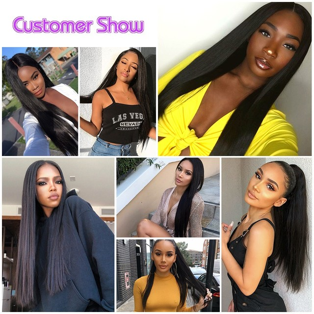 Straight Human Hair Lace Front Wigs 100% Human Hair Straight Closure Wig Pre-Plucked Glueless Straight Hair Lace Wigs for Woman