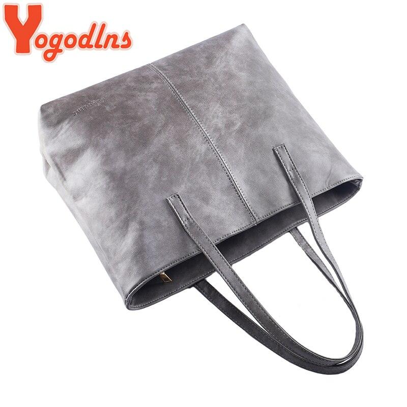 Yogodlns bag 2019 fashion women leather handbag brief shoulder bags gray /black large capacity luxury handbags tote bags design