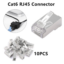 цена на 10pcs Cat6 RJ45 Connector 8P8C Modular Ethernet Cable Head Plug Gold-plated Cat 6 Crimp Network RJ 45 Connector Cat6