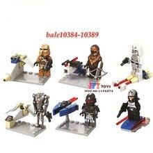 6 pcs star wars Stormtrooper de super-heróis da marvel Wookiee Chewbacca modelo de blocos de construção tijolos brinquedos para crianças juguetes