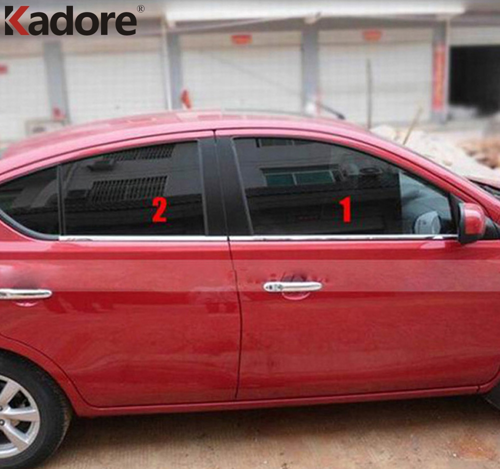 10PCS/SET Stainless Steel Car UP+Down Window Mouldings Glass Strips Exterior Decoration For Nissan Versa Sedan 2012 2013 2014 stainless steel full window trim decoration strips for ford focus 3 sedan 2012 2013 2014 car styling car covers 20