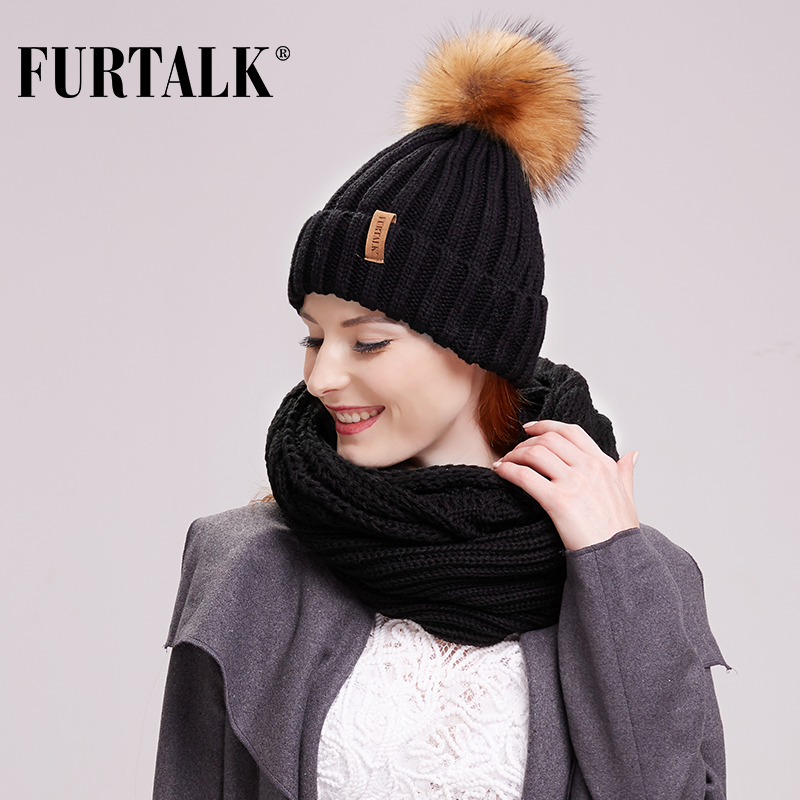 FURTALK Winter Hat Scarf Set For Women Beanie Hat With Fur Pom Pom Female Winter Warm Cap And Ring Sacrf Set Black White Color