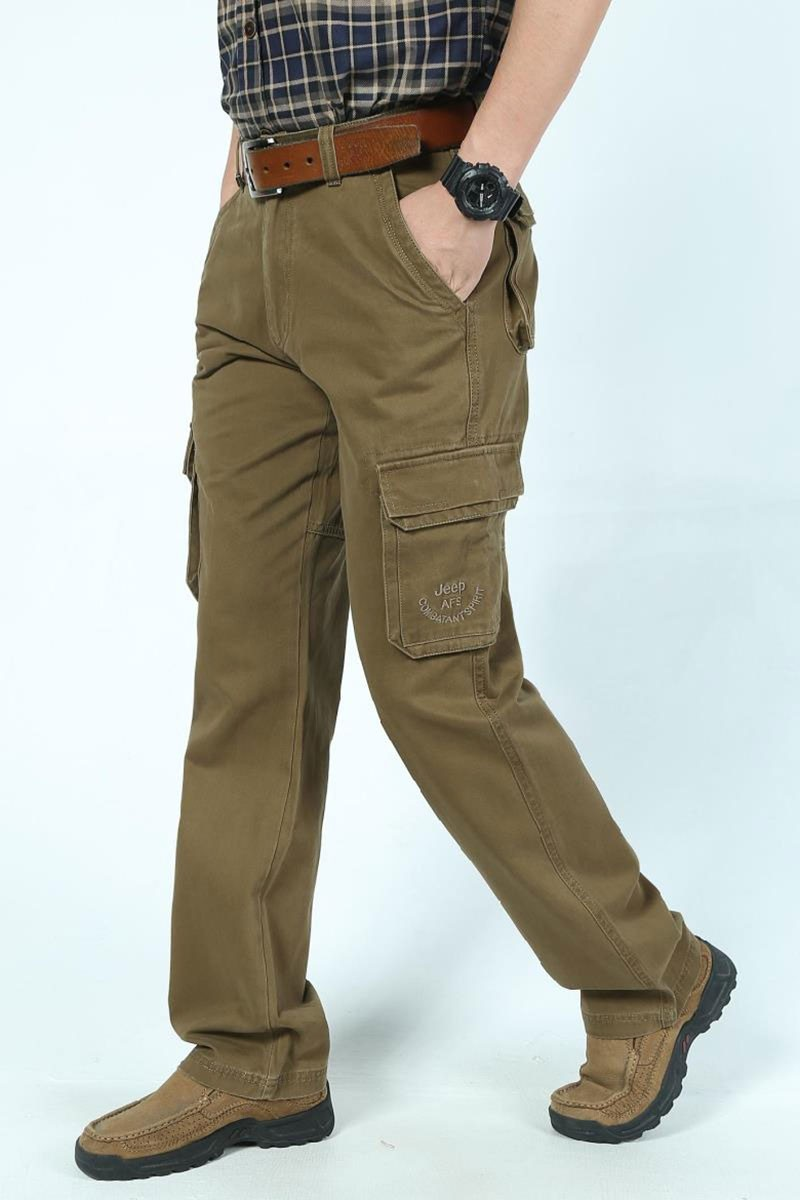 2016 Mens\' Spring Autumn Cotton Cargo Long Pants Pocket Brand AFS JEEP Casual Straight Plus Size Trousers Breathable Pants Khaki (14)