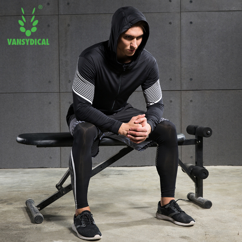 2017 Vansydical Running Suits Mens Sport Compression Shirt Running Suits Men 4pcs/set Training Tracksuits Men Gym Clothing Sets lefan 2018 sport suits 3pcs men elastic running fitness sets male training sportswear clothes set gym tracksuits tight leggings