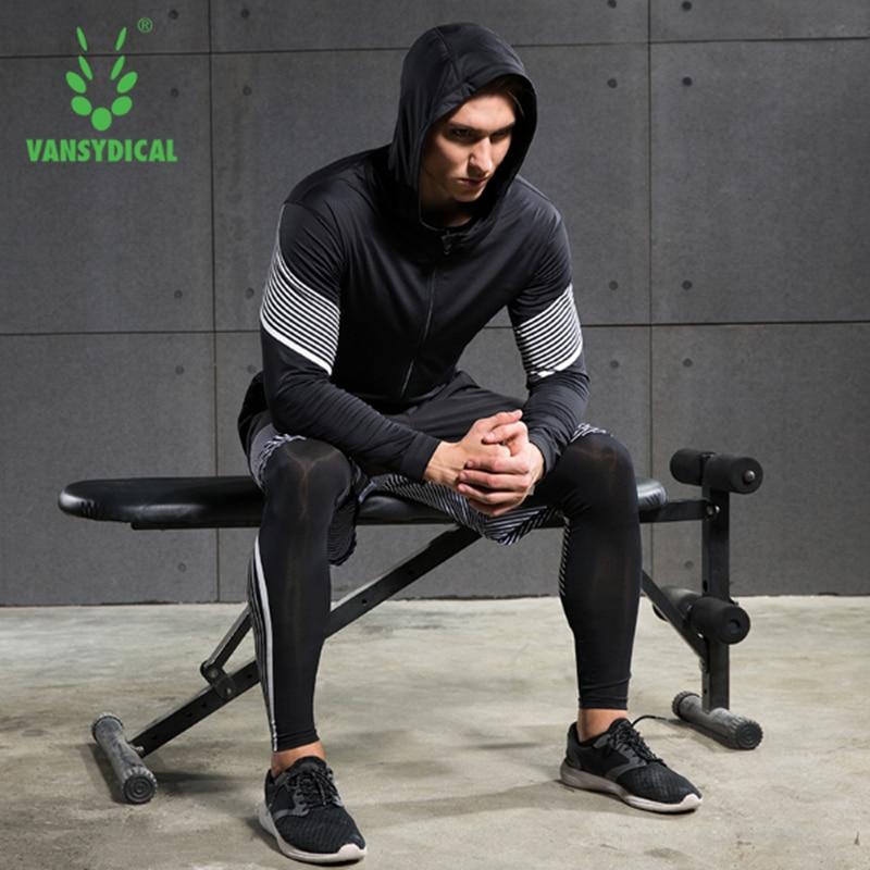 2017 Vansydical course costumes hommes Sport Compression chemise course costumes hommes 4 pièces/ensemble entraînement survêtements hommes Gym vêtements ensembles