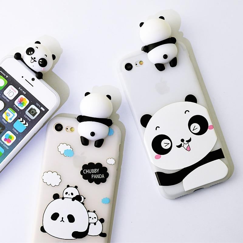 3D Cute Case For iPhone 6 Case 3D Panda Soft Silicone Case for iPhone 7 Case Lovely Cartoon Panda for iPhone 6s 7 plus Cover
