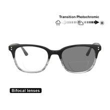 Transição photochromic bifocal retro leitor de óculos de leitura óptica hyperopia uv400 óculos de sol