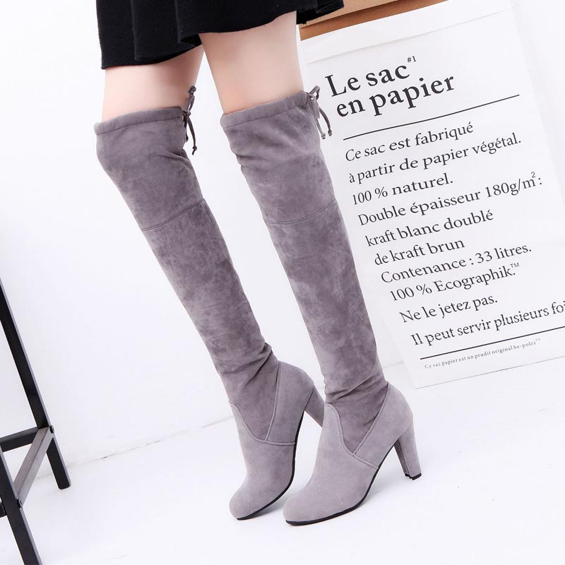 2017 Hot Sale Slim Boots Women Thigh High Boots Sexy Over The Knee Boots Fashion Winter Snow Boots Shoes Woman womens lace up over knee high suede women snow boots fashion zipper round toe winter thigh high boots shoes woman