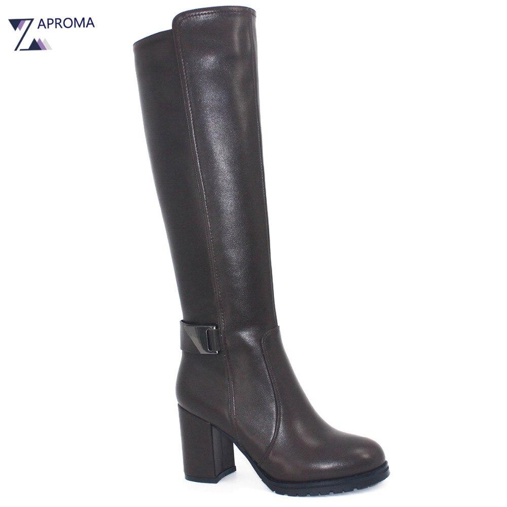 Chic Knee High Women Boots Chunky Heel Metal Decoration PU Dress Shoe Sexy High Heel High Quality Round Toe Zip Winter Rain Boot