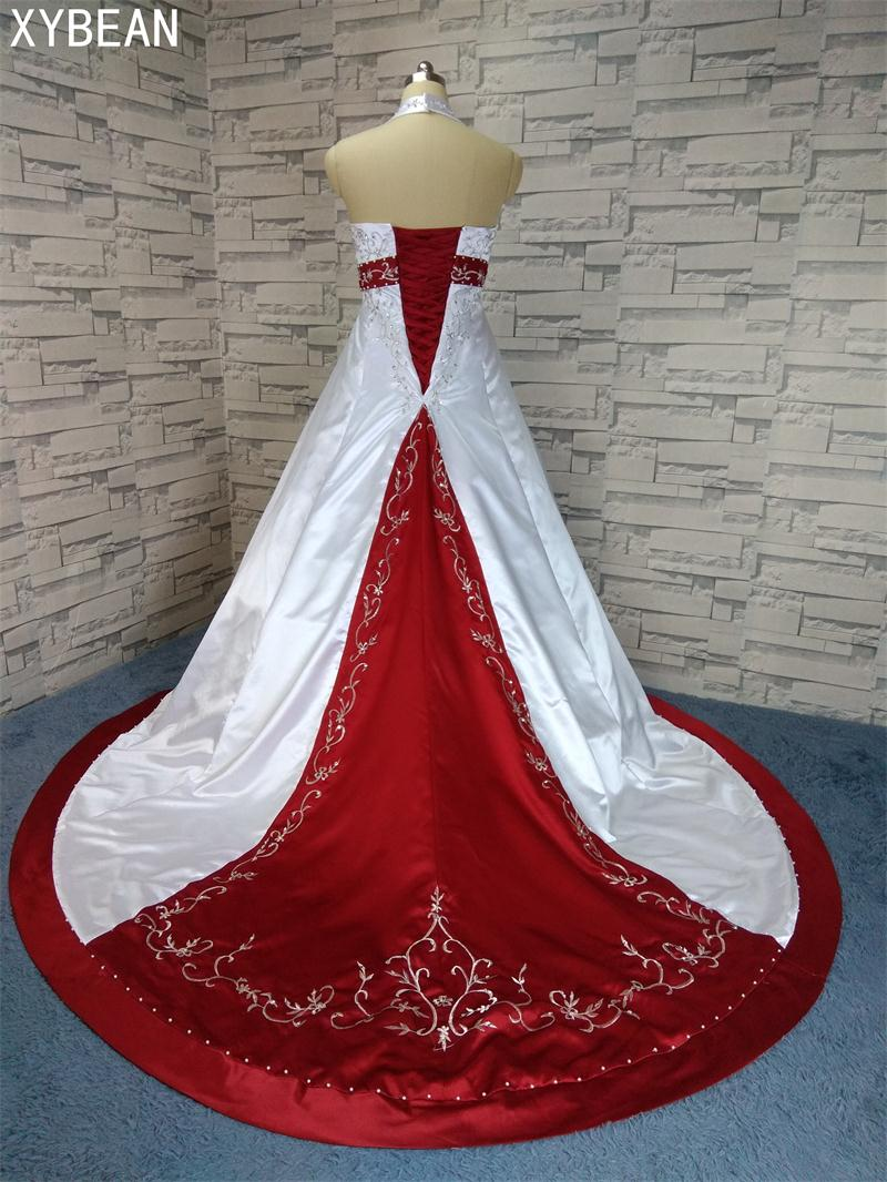2018 Free Shipping Beading embroidery A line Strapless With Train Red and white  Wedding Dresses( 266f70916a47
