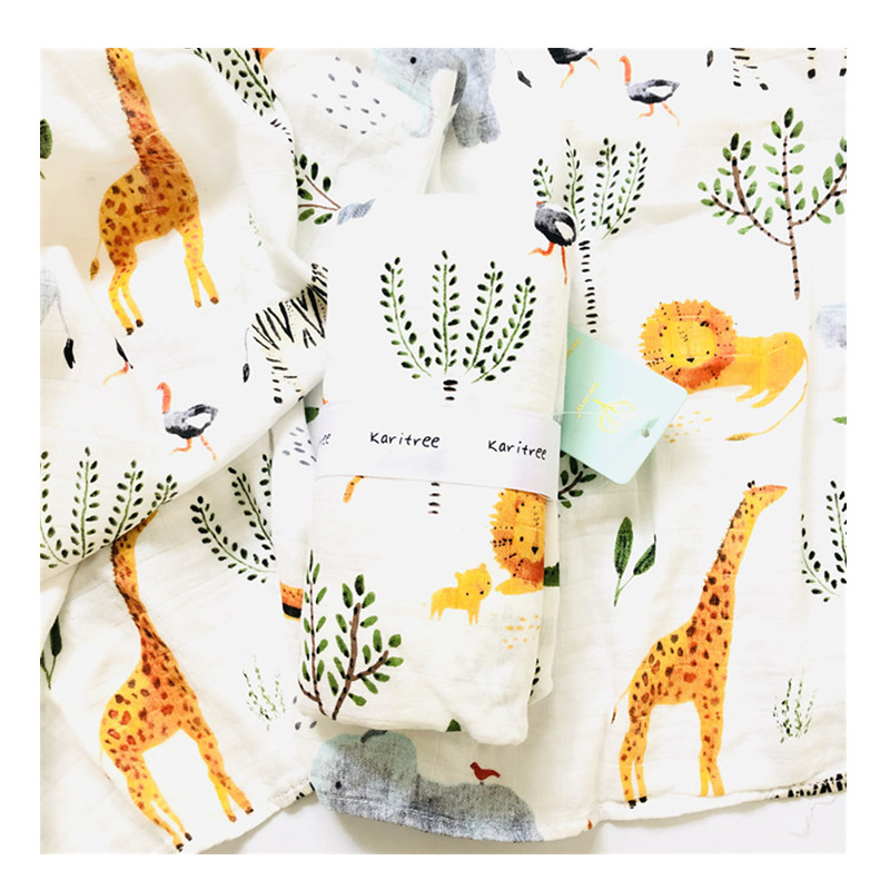 Animal 70% Bamboo30%cotton Baby Muslin Swaddle Blankets Diaper Newborn Blankets Gauze Infant Wrap Sleepsack Swaddleme Bath Towel