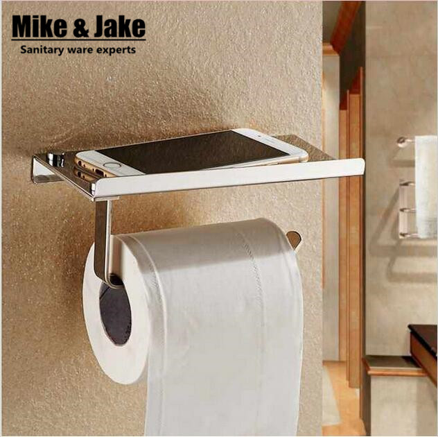 Stainless Steel 304 Bathroom Paper Phone Holder With Shelf Mobile Phones Towel Rack Toilet