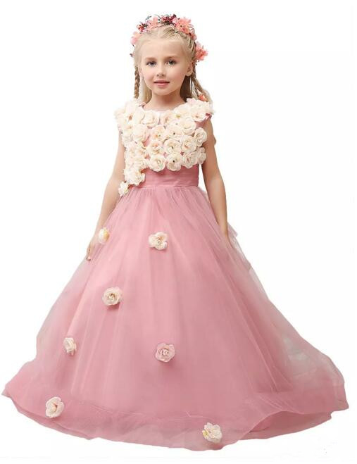 2017 Pink Little Girls First Communion Dress 3D Flowers Tulle Princess Girls Birthday Gown Pageant Dress Cheap Flower Girl Dress hot sale custom cheap pageant dress for little girls lace beaded corset glitz tulle flower girl dresses first communion gown
