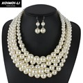 pearl necklace multilayer fashion simulated plastic pearl bead women necklace classic trendy chains necklaces party jewelry 8050