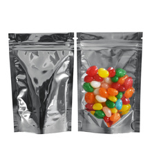 12*20cm Stand Up Aluminum Foil Package Bag Clear Zip Lock Mylar Plastic Packaging Pouches Nut Coffee Candy Storage Zipper Bags