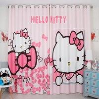 Личный портной 2 шт. 200x260 см драпировки Панель витрин драпировка волна Шторы Детский Дети Детская комната розовый рисунок «Hello Kitty» cat