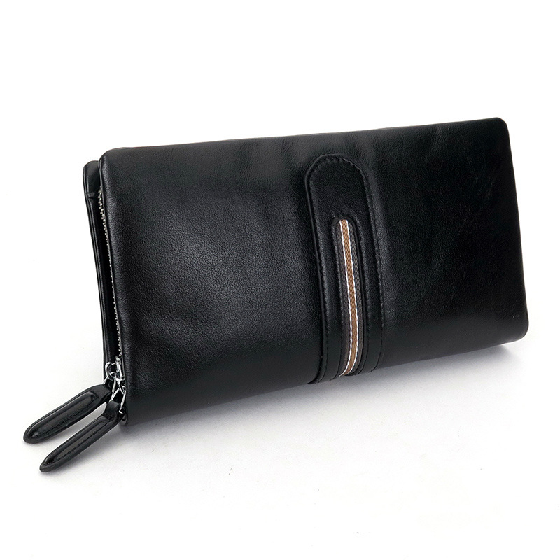 2017 Real Genuine Leather Men Wallets Business Card Holder Coin Purse Men's Long Zipper Wallet Soft Leather Clutch Luxury Brand mens wallets black cowhide real genuine leather wallet bifold clutch coin short purse pouch id card dollar holder for gift