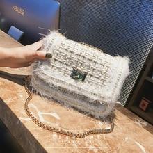 6a6db9027b1d Famous Brand Pearl Woolen Bag Fashion New Women Handbags Animal Hair Woolen  Female Crossbody Bag Lady