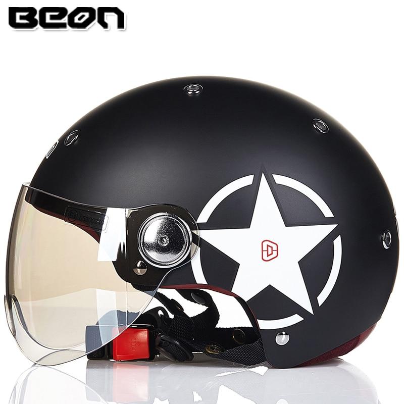 Motorcycle BEON Half Face Vintage Motorbike Helmet Open Face Helmet Electrombile capacete casco helmets M L