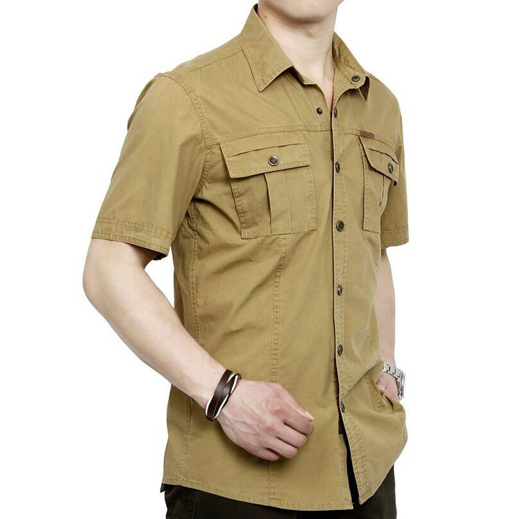 Plus Size XXXXXL Summer Men\'s 100% Cotton Shirts Solid Color Dress Short Sleeve Shirts Casual Outdoor Man Brand AFS JEEP 5003 (2)