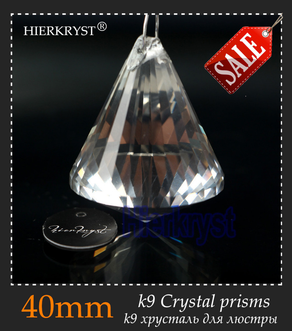 "HIERKYST 1 pc K9 Glass Crystal Prisms Pendant Candelier Parts Lustres Rainbow Lighting Lighting Hang Drops 40mm 1.57 ""# 1916-1"
