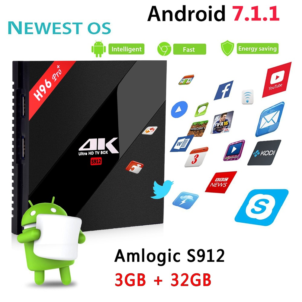 H96 PRO + Plus Smart TV Box Amlogic S912 Octa Mali-T820MP3 GPU 2G/16G 3G/32G Android 7.1 2,4G/5,8 GHz Wifi Bluetooth Set Top Box
