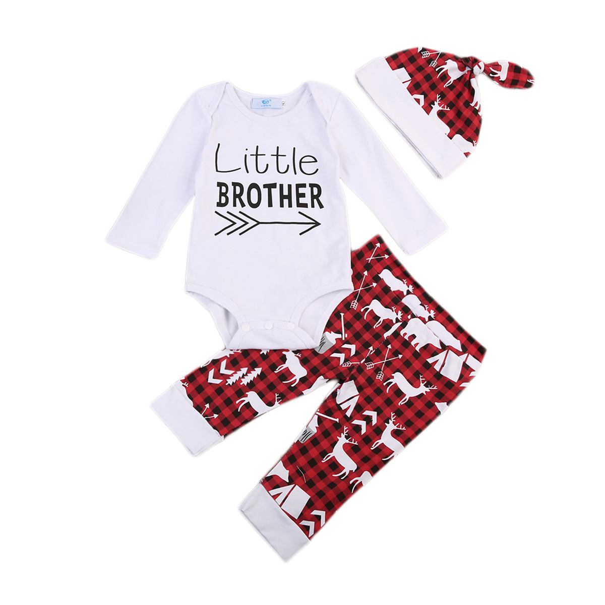 Baby Boy Outfits Clothes Newborn Baby Little Brother Letter Print Romper Cute Deer Pants Hat 3pcs Set