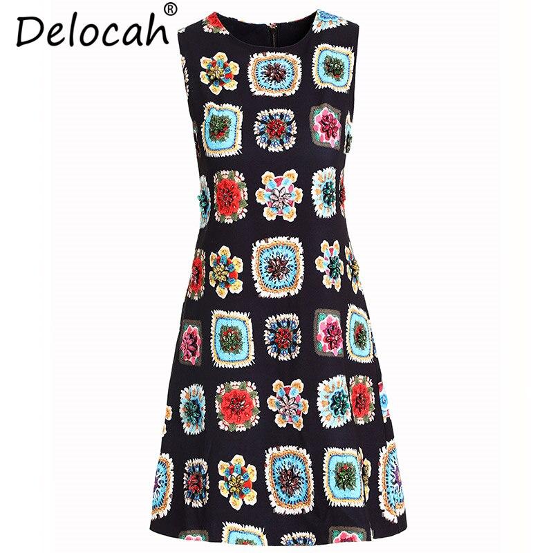 Delocah nouvelles femmes d'été gilet robes piste mode sans manches imprimé Floral cristal perles élégant décontracté vacances robe courte
