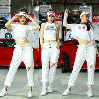 SexyStageCostumeWomen Singer Nightclub Dj Ds White Hip Hop Clothing Women Street Dancing DancerOutfit Jazz Dancewear DT1038