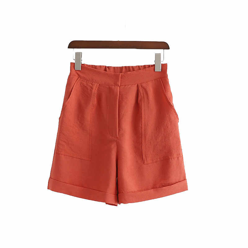Solid Color High Waist Shorts Women Fashion Zipper Waist Wide Leg Shorts Women Front Pockets Loose Shorts Female Ladies EX01