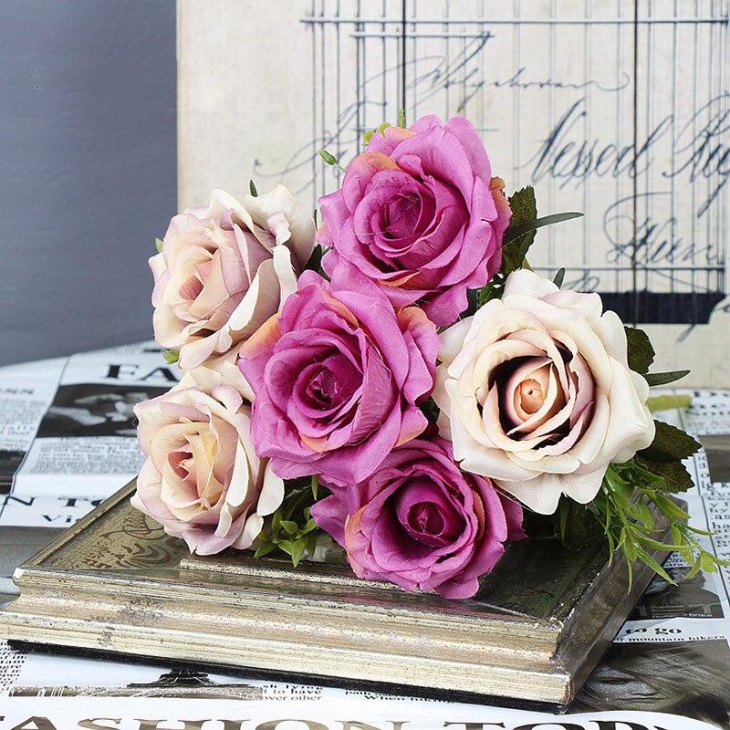 roses artificial flower bouquet wedding home decor (19)