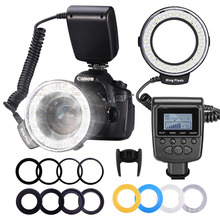 Neewer 48 Macro LED Ring Flash Light LCD Display RF550D with Four Diffusers 8 Adapter Rings For Nikon Canon Panasonic Pentax