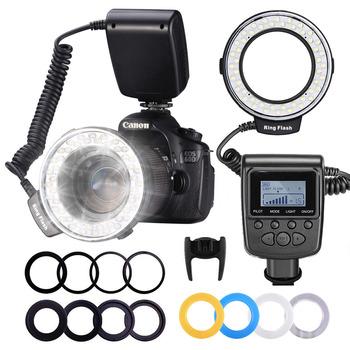 Neewer 48 makro LED pierścień latarka wyświetlacz LCD RF550D z czterema dyfuzorami 8 pierścienie pośrednie dla Nikon Canon Panasonic Pentax tanie i dobre opinie 10020025 MARCO LED RING FLASH