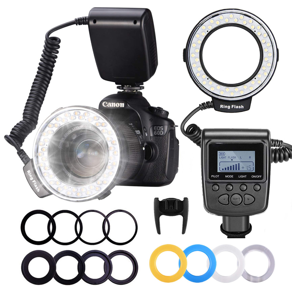 Neewer Macro Anel LED Flash Light Display LCD RF550D 48 com Quatro Difusores 8 Anéis Adaptadores Para Nikon Canon Panasonic pentax
