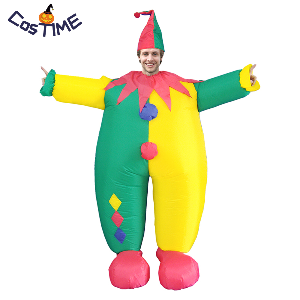 Adult Clown Inflatable Costume Funny Fat Clown Fancy Dress Joker Jumpsuit Carnival Party Halloween Christmas Costumes Fun Toys