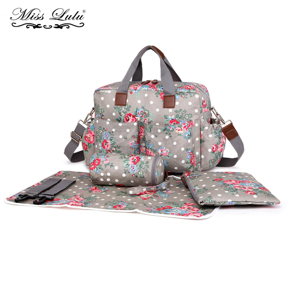 Miss Lulu 4 Pieces Baby Diaper Bags Ny Changing Set Flower Matte Oilcloth Maternity Handbag Nursing Clean Wet Bag L1501 In Top Handle From