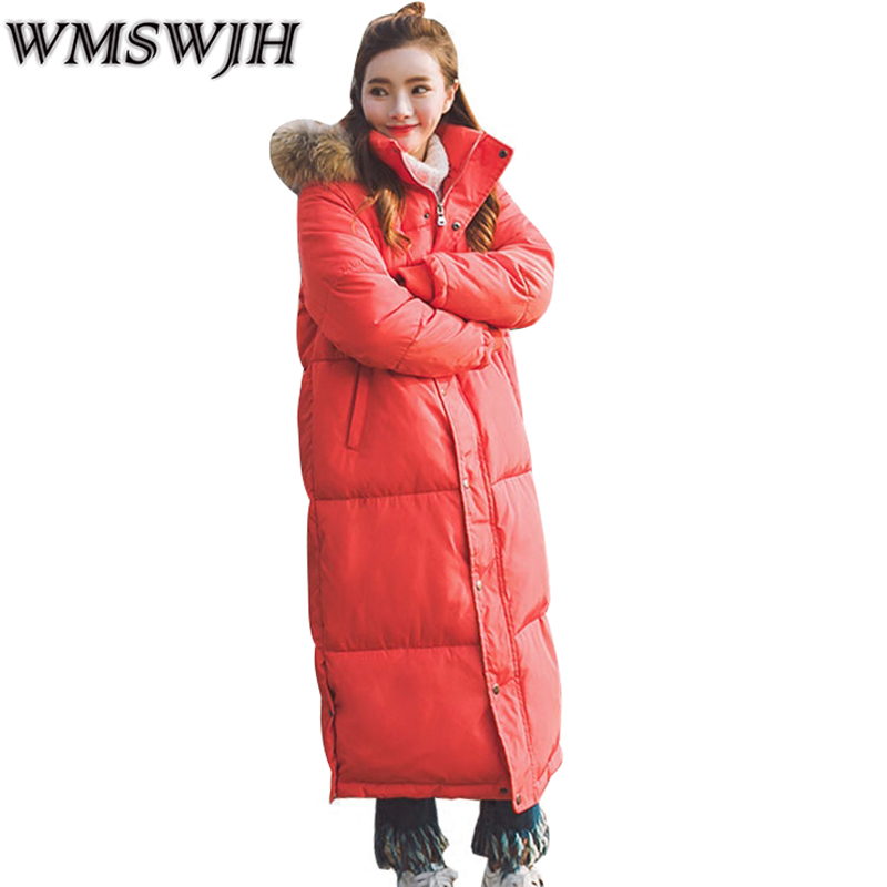2017 Winter Women Jacke New Fashion Fur Collar Mid-Long Thicken Warm Coat Loose Plus Size Slim Parkas Cotton Hooded Coat WS347 2015 new hot winter thicken warm woman down jacket coat parkas outerwear hooded loose straight luxury brand long plus size xl