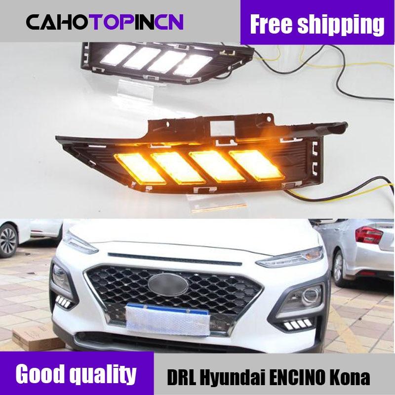 DRL For Hyundai ENCINO Kona 2018 2019 waterproof 12V LED CAR DRL Daytime running lights fog